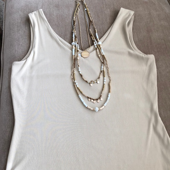 6bbe81ec3ce8b0 Cache Tops - Double V Neck Sand Tank in Super Luxe Knit NWT